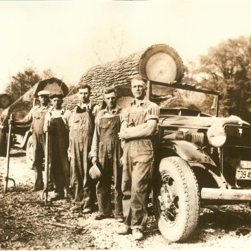Loggers and their log trucks with yellow poplar and sweet gum logs.  Wish we knew the names of the loggers.