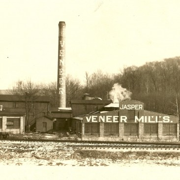 Jasper Veneer Mills between 1925 and 1935.  The actual date of the photo is not known.